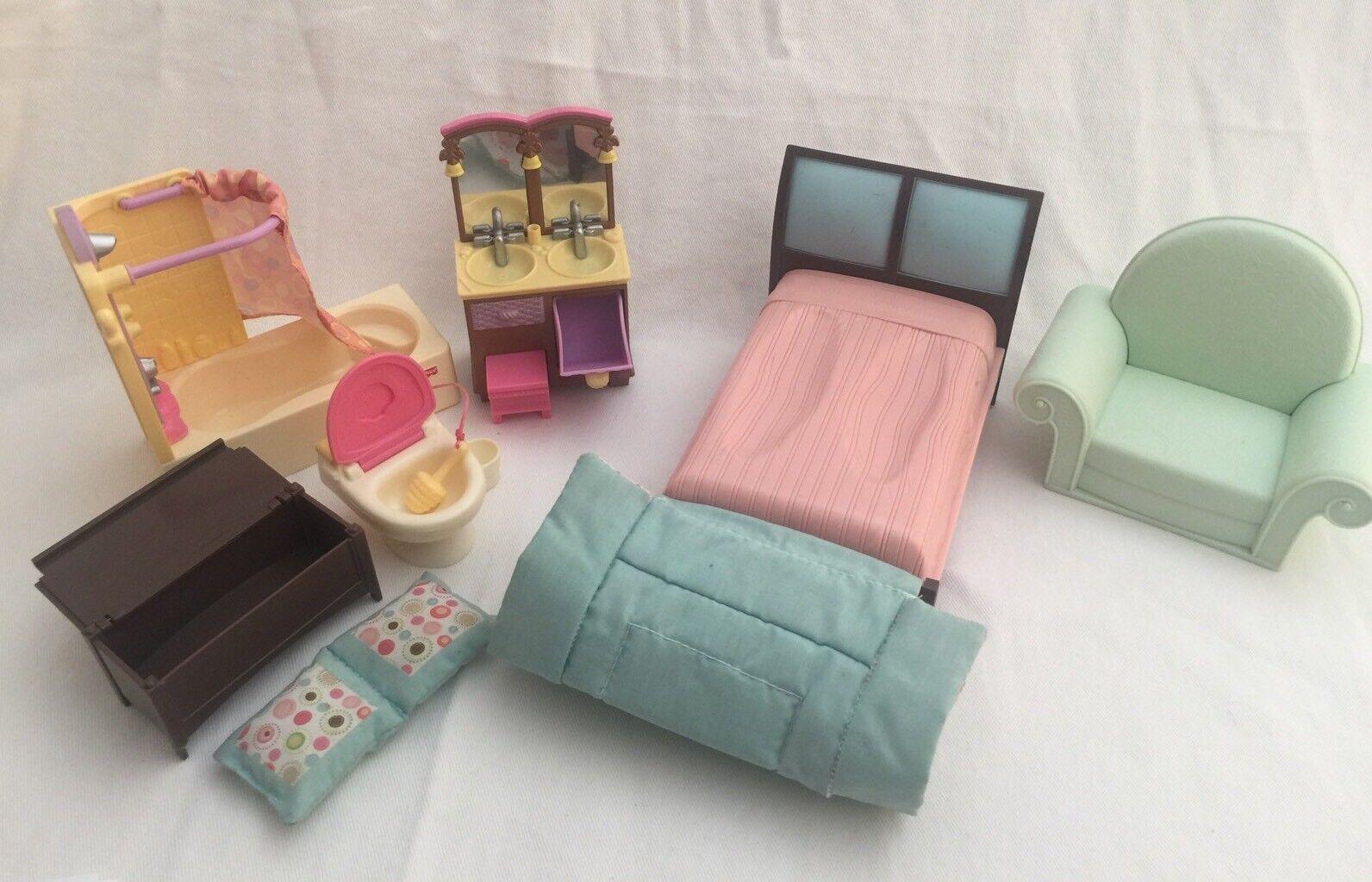 Fisher-Price Loving Family Family Family MASTER BEDROOM Dollhouse Furniture 86aae8