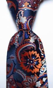 New-Classic-Floral-Dark-Blue-White-Orange-JACQUARD-WOVEN-Silk-Men-039-s-Tie-Necktie