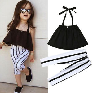 hot sale best website best shoes US Fashion Toddler Baby Girl Clothes Sleeveless Tops+Stripe ...