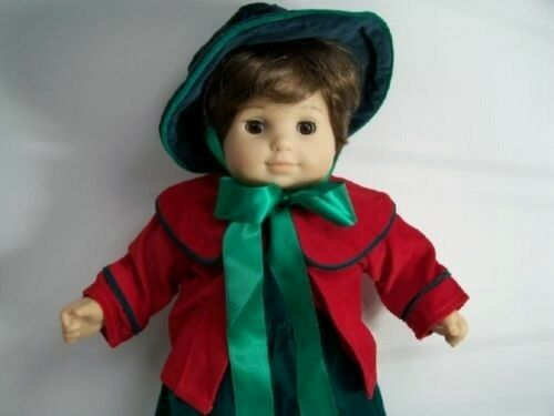 Christmas GREEN RED Caroling Dress /& Hat Doll Clothes For Bitty Baby Girl Debs