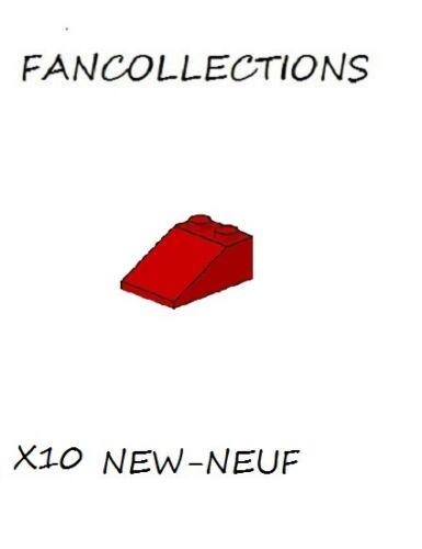 Lego x 10 - Red Slope 33 3x2 - 3298 NEUF