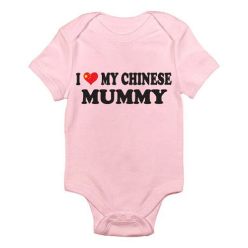 Mum Mother Fun Themed Baby Grow China I LOVE MY CHINESE MUMMY Romper
