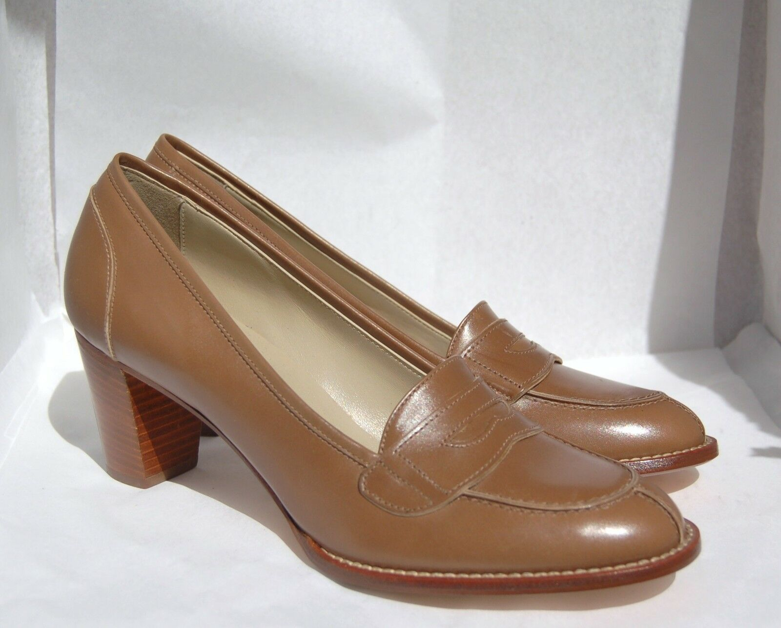 WOMAN - 40 - PENNY LOAFER - SOFTY CALF TAUPE - LEATHER SOLE - HEEL 7cm - LINING