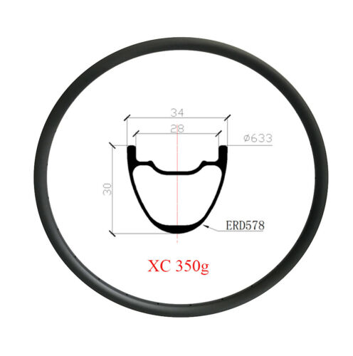 29er carbon MTB RIM XC 34mm tubuless ULTLIGHT carbon Mountain Bike hookless rim