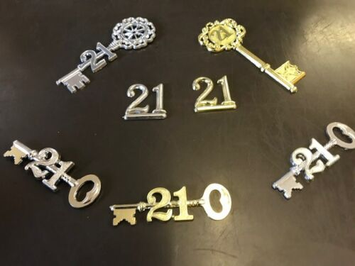 various designs gold /& silver 5 x 21st Birthday Keys Cake Toppers
