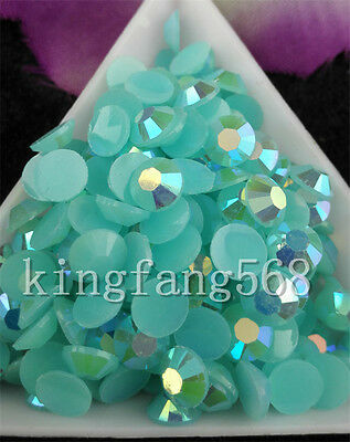 Jelly crystal Acid blue AB Multiple faceted resin Flat Back Rhinestones use glue