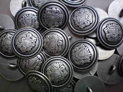 15mm 20mm Antique Silver Effect Metal Military Coat of Arms Shank Button XM54A-B