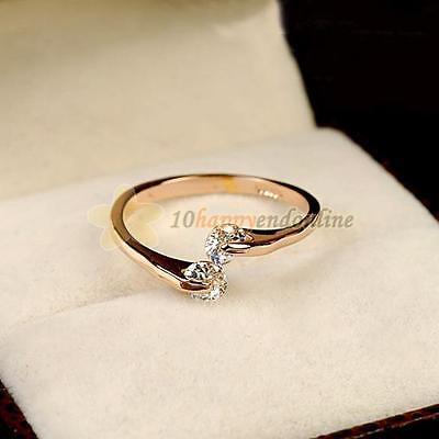 Elegant Women Crystal Wedding Engagement Ring 18K Rose Gold Filled FRing 6/7/8/9