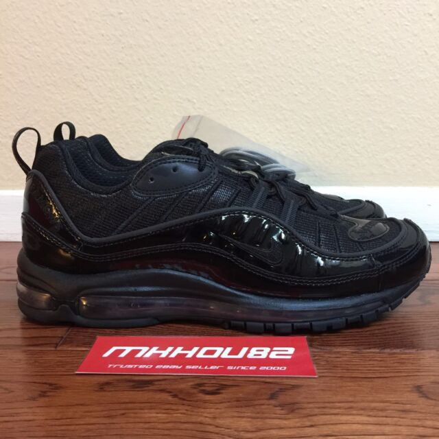 0d7f9810e9 New Supreme Nike Air Max 98 Black Running Shoes Spring Summer 2016 Size 11