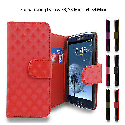 Samsung Galaxy Pu Leather Magnetic Flip Wallet Case Cover For S3 S4 S4 Mini