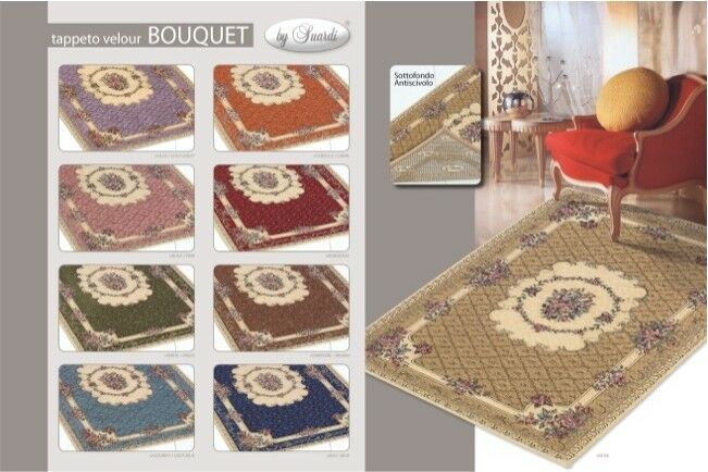 TAPPETO SUARDI VELOUR MODELLO BOUQUET MADE IN IN IN ITALY 9 ColoreeeI VARIE MISURE 7f74d4