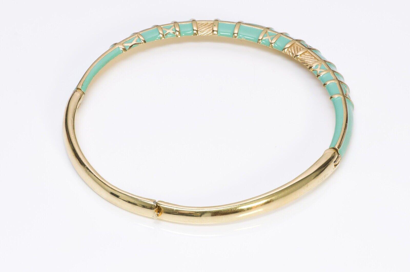 LANVIN Paris 1970's Green Enamel Choker Necklace - image 3