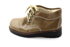 48fde751694e RIEKER Lack Leder Boots Halb Schuhe Schnürer 38 UK 5 oliv braun Woll ...