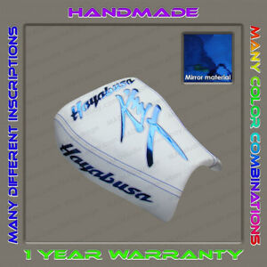 Custom-White-Blue-Chrome-Front-Seat-Cover-Suzuki-Hayabusa-99-07-First-Gen