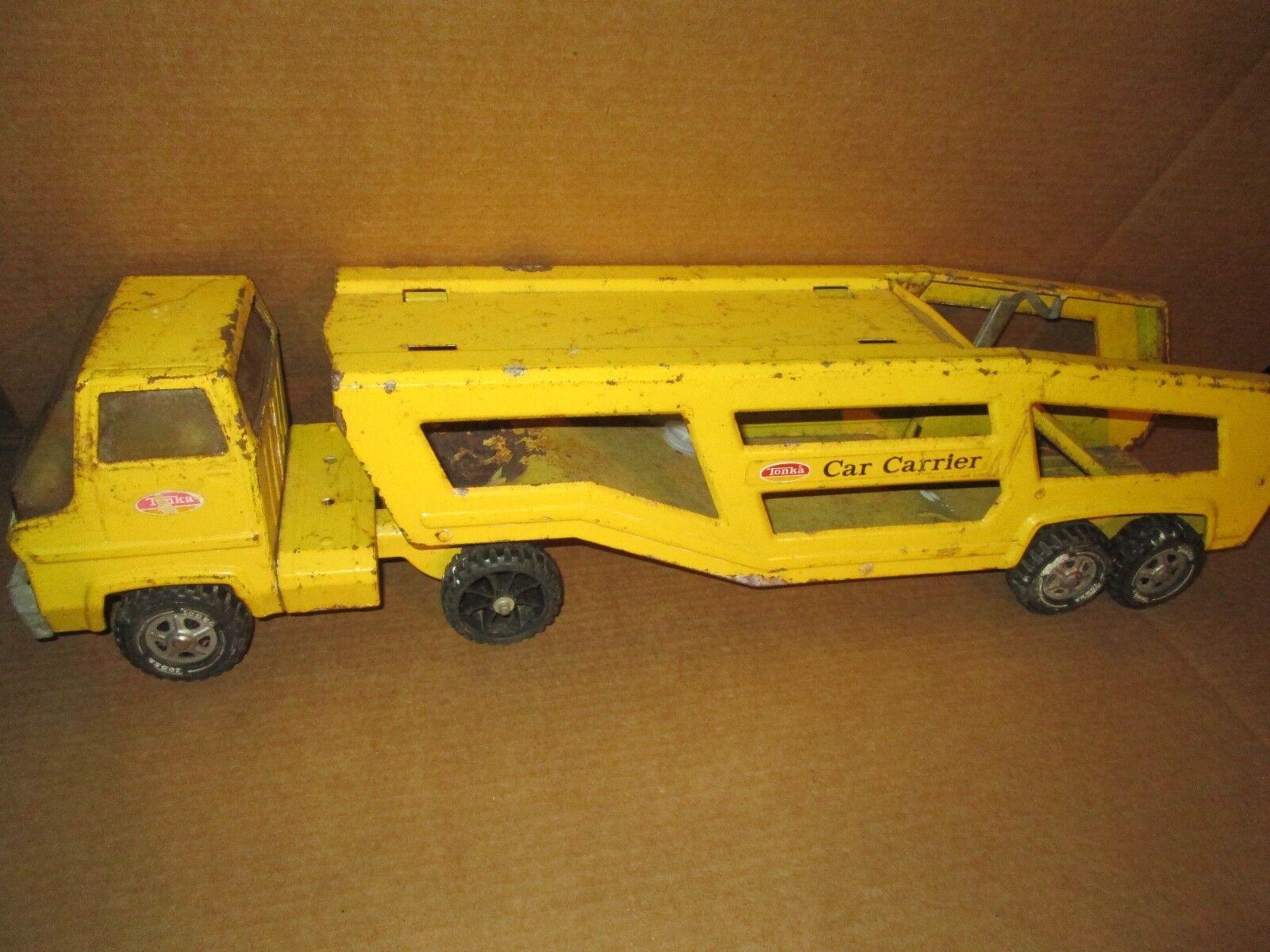 Vintage Tonka Coche Transportador Camión y Remolque Semi Tractor con
