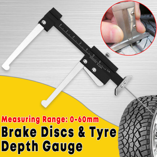 Tyre Tread Tire Depth & Thickness Gauge Ruler Brake Disc Measuring Tool Caliper