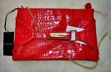 NEW Krizia Poi (Italy) Red Clutch / crossbody bag on chain 26cm x 16 cm