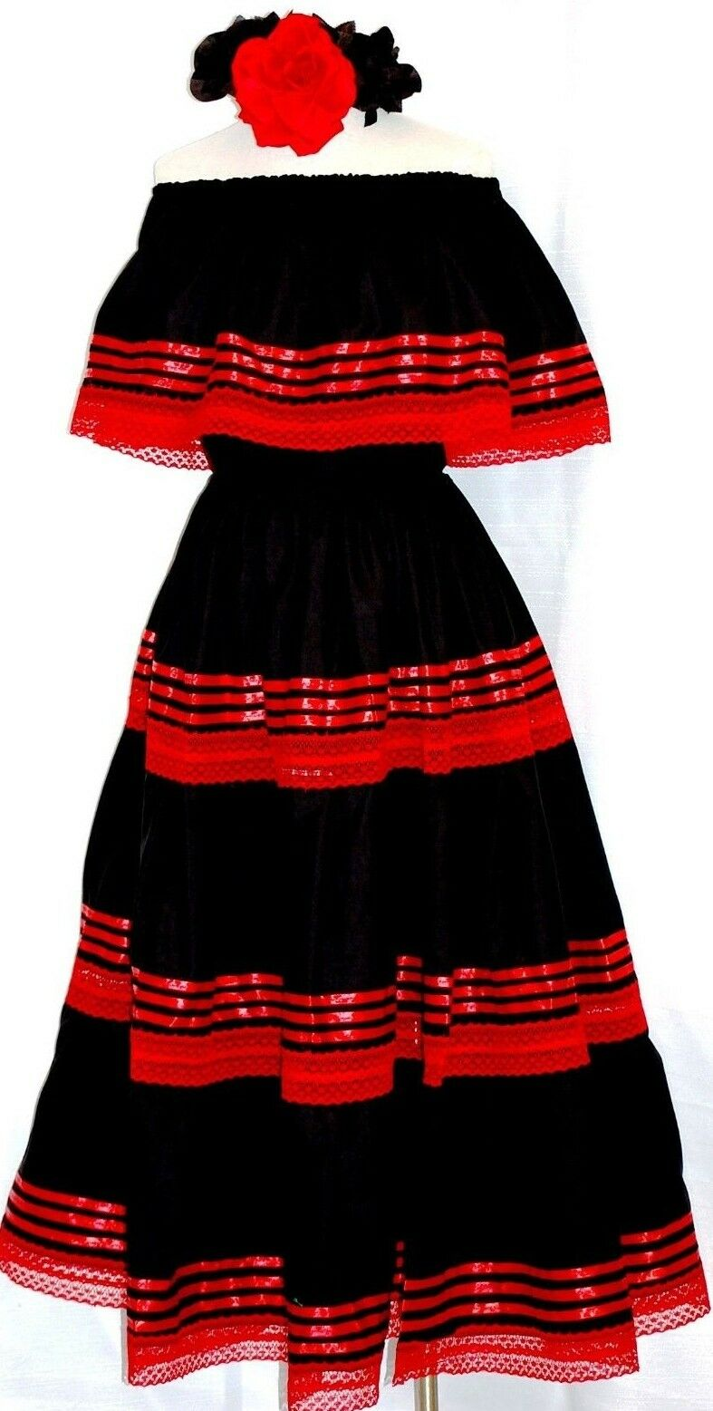 5 de Mayo Mexican schwarz Maxi Dress Ribbons Ruffle Off shoulder 2 pc folklorico