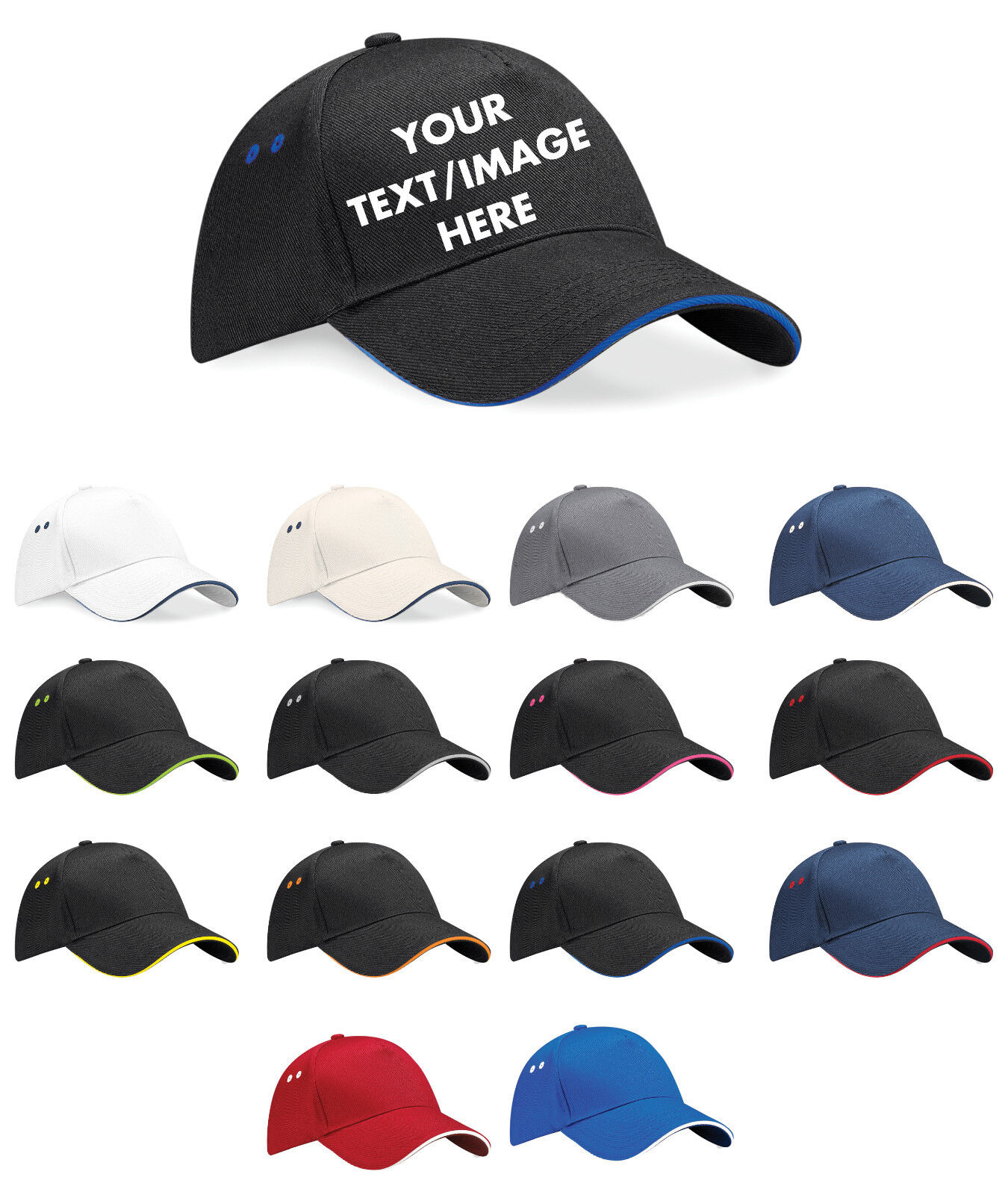 Printed Baseball Cap Personalised Custom Hat Text Logo Mens Ladies