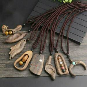 Vintage-Natural-Sandalwood-Gemstone-Pendant-Necklace-Long-Sweater-Chain-Jewelry
