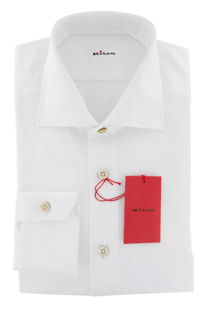 Kiton White Solid Shirt - Slim - (UCCH181FAA1)