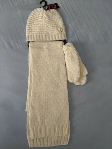 NEW Primark Girl/'s Cream Scarf Size M-L Hat and Glove Set