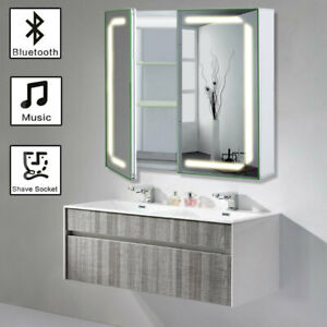 Led Illuminated Bathroom Mirror Cabinet Shaver Socket Bluetooth Speaker Anti Fog Ebay