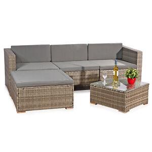 5tlg garten ecksofa lounge tisch polster sitzgruppe rattanm bel grau set ebay. Black Bedroom Furniture Sets. Home Design Ideas