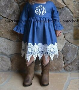 0b717187c3f Best-Seller! Smocked A Lot Girl Dress Denim   Lace Monogrammed Fall ...