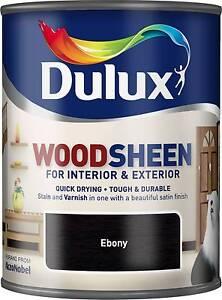 Image Is Loading Dulux Woodsheen Ebony 750ml Interior Amp Exterior Woodstain