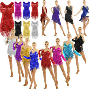 Women High Low Dress tango rumba Cha cha Ballet Ballroom Dance Dress Costume