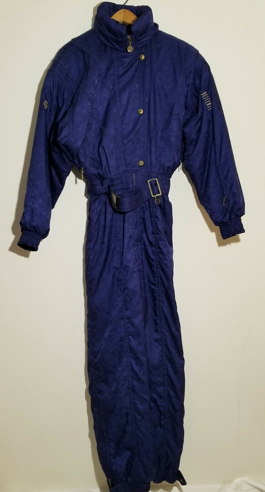 Vintage DESCENTE bluee Women's 10 One Piece Snow SKI Suit BIB Coat Snowsuit
