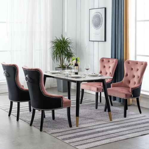 1-4x Dining Chairs Velvet Upholstered Wing Back Accent Button Back Knocker Chair Pink&Black,Grey&Black,Coffee,Dusty Pink,Light Grey