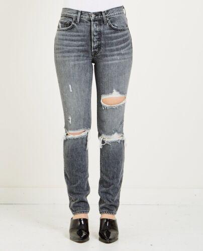 GRLFRND Women/'s Karolina High Rise Skinny Ripped Distressed Jeans in Flint Black