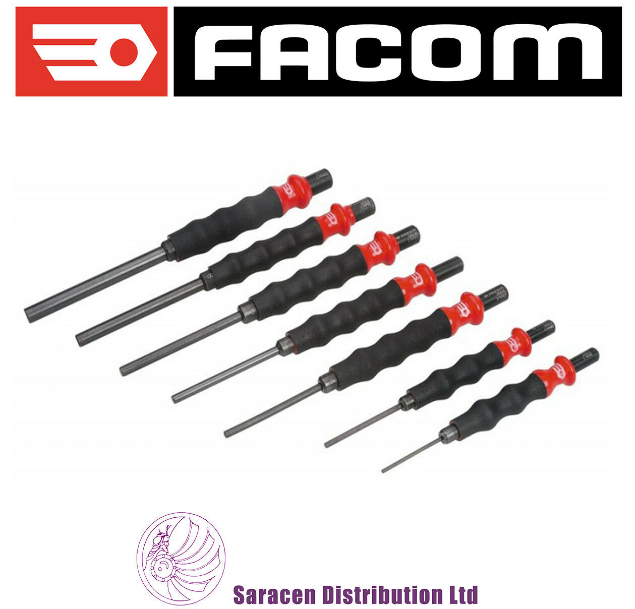 FACOM 7 PIECE SHEATHED DRIFT PUNCH SET, 2 - 10MM, COMFORT GRIP - 249.GJ7