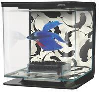 Marina Betta Aquarium Kit Fish Tank Betta Bowl 1/2 Gallon Ying/Yang #13348
