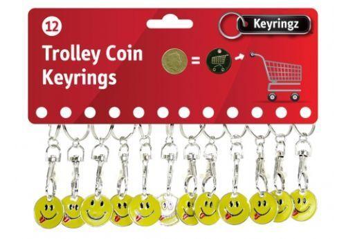 1 12 24 Smiley Face Tounge Shopping Trolley Token £1 Coin Keyring Locker Pound
