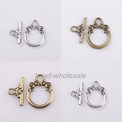 30 sets Hot sale Tibetan silver Decorative Pattern Clasp Bar Findings For Craft