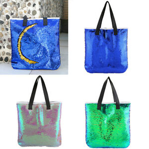 Women-Reversible-Mermaid-Sequins-Glitter-Handbag-Single-Shoulder-Bag-Retro-Tote