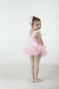 Nwt-Pink-Dance-Costume-Sz-Xsm-Child-Sequin-edged-Waffle-Fabric-Lace-Straps