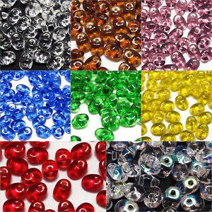 Lot-de-100-Perles-de-Rocailles-SuperDuo-Matubo-2-5x5mm-en-Verre-Transparent