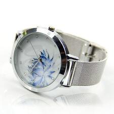 Stainless Steel Women Lady Fashion Blue Lotus Rhinestone Mesh Quartz Wrist Watch