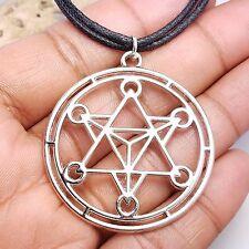 Merkaba Meditation Pendants Necklace Large Round Meditation Charm Choker