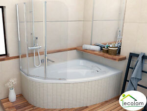 Details zu Badewanne + Badewannenabtrennung Duschwand Wanne 150 x 100  Wannenträger rechts
