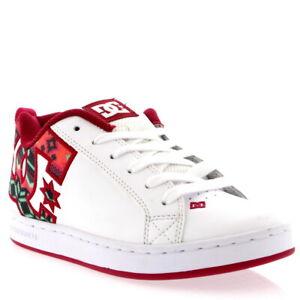 Da-Donna-DC-Shoes-Court-Graffik-Bianco-Pelle-Scarpe-skate-Basso-Top-Tg-UK-3-8