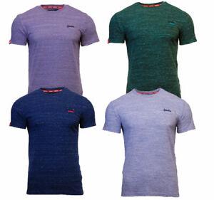 Cuello-redondo-para-hombre-Superdry-Orange-Label-Camiseta-Manga-Corta-Azul-Verde-Morado