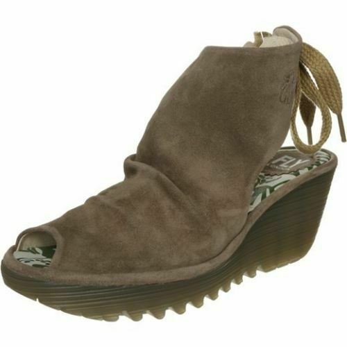 FLY LONDON 'YAME' TAUPE SUEDE Stiefel schuhe SANDALS WEDGES UK 6 EUR 39