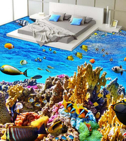 3D Koralle Fisch 455 Fototapeten Wandbild Fototapete Tapete Familie DE Lemon