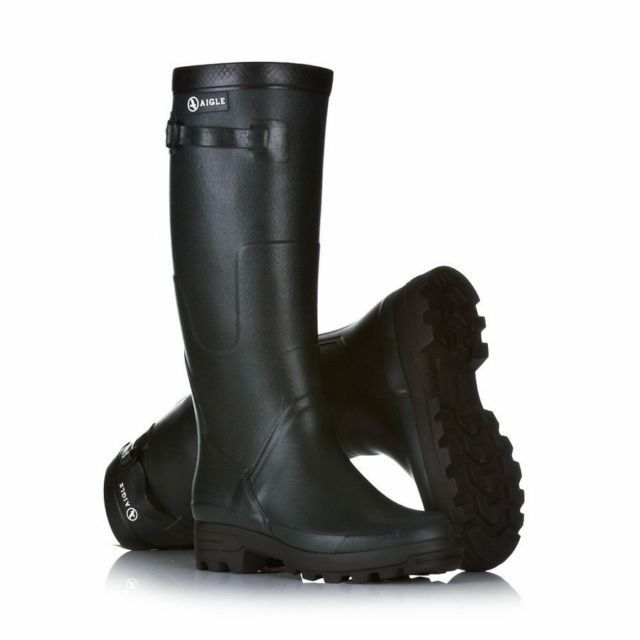 AIGLE BENYL WELLINGTON BOOT WELLIES ADJUSTABLE CALF STRAP NATURAL RUBBER BNWT