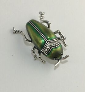 Unique-Insect-Beetle-large-Pin-brooch-Enamel-on-Metal